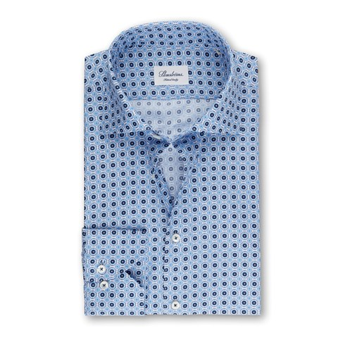 Blue Fitted Body Shirt With Pattern, Extra Long Sleeves