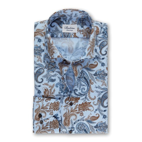 Light Blue Paisley Fitted Body Shirt, Extra Long Sleeves