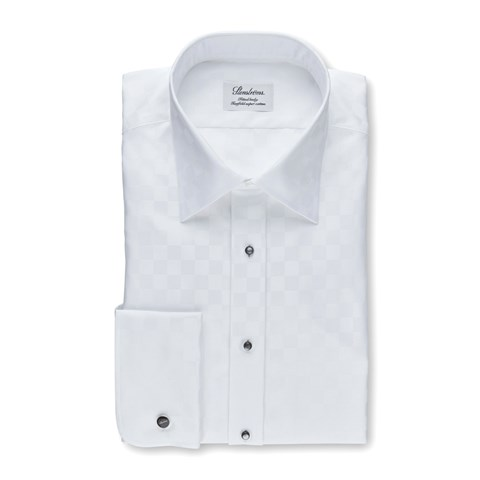 White Check Fitted Body Tuxedo Shirt