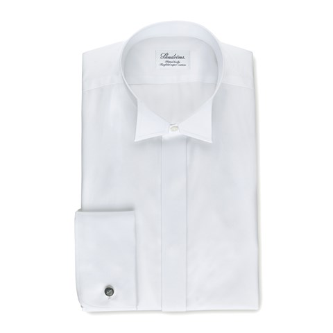 White Fitted Body Tuxedo Shirt With Wing Collar