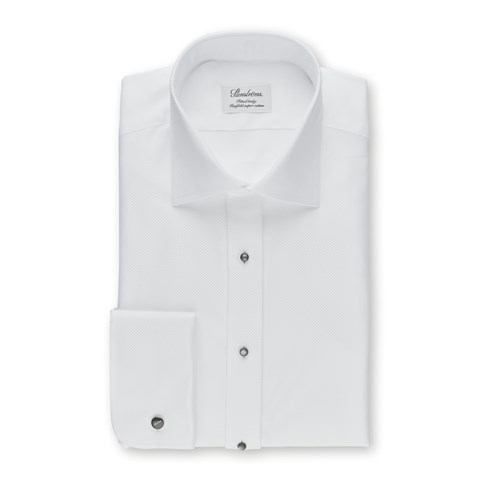 White Fitted Body Evening Shirt