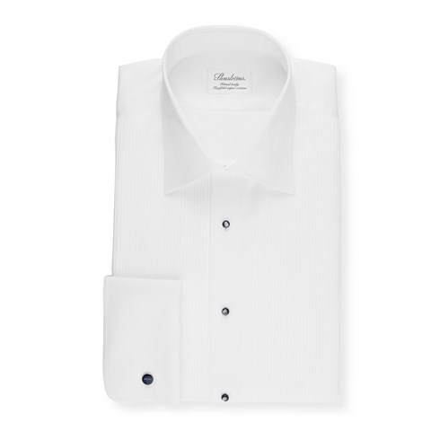 White Fitted Body Tuxedo Shirt, Extra Long Sleeves