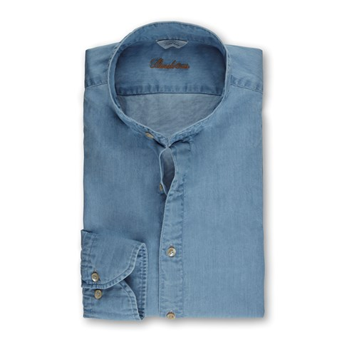 Washed Fitted Body Denim Shirt, Band Collar