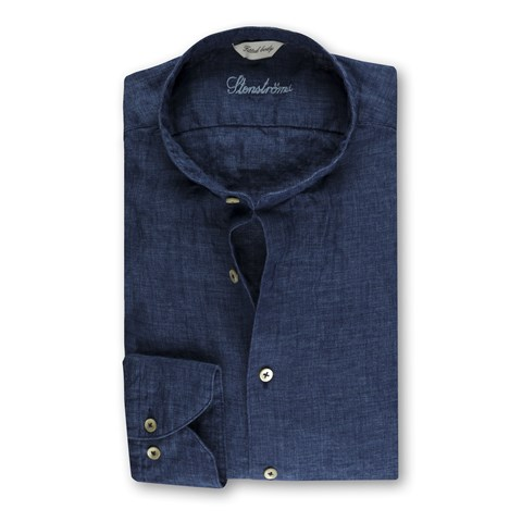 Fitted Body Linen Shirt Blue, Mandarin Collar