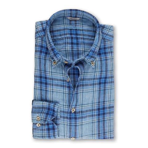 Blue Linen Checked Fitted Body Shirt