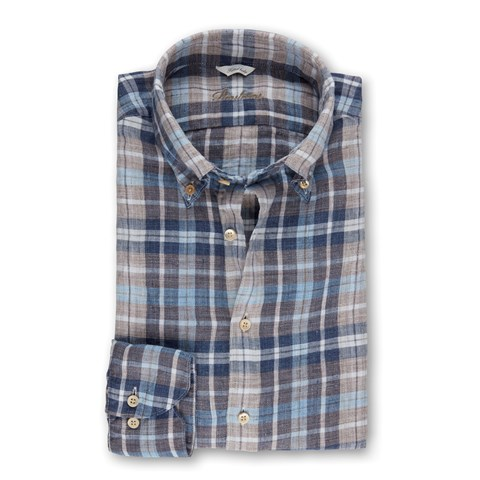 Blue/Brown Linen Checked Fitted Body Shirt