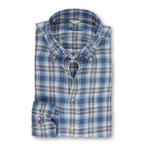 Blue/Grey Linen Checked Fitted Body Shirt