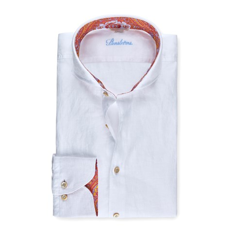 White Linen Fitted Body Shirt With Contrast