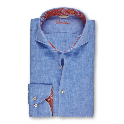 Light Blue Linen Fitted Body Shirt With Contrast