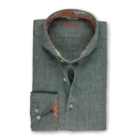 Forest Green Linen Fitted Body Shirt With Contrast