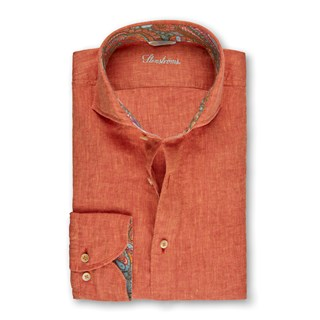 Orange Linen Fitted Body Shirt With Contrast