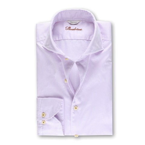 Fitted Body Casual Shirt Pinstriped Purple