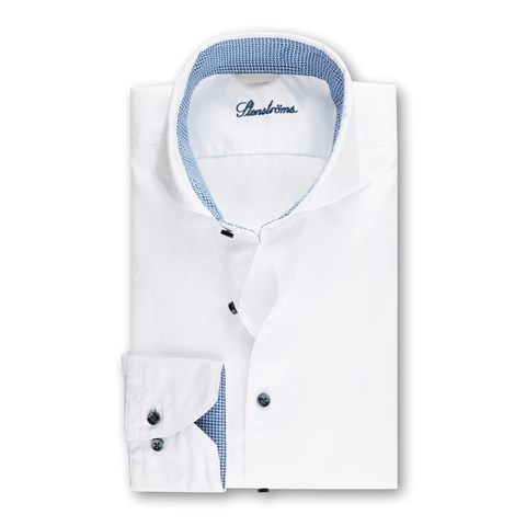 White Fitted Body Shirt w. Blue Contrast