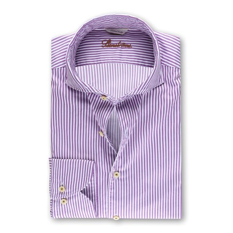 Garment Washed Fitted Body Shirt Striped Purple