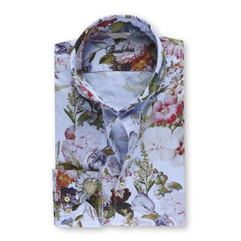 Casual Fitted Body Oxford Shirt Blue Floral