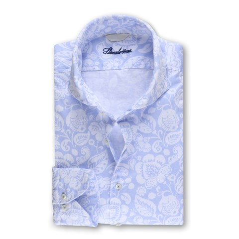 Casual Fitted Body Shirt Blue Floral