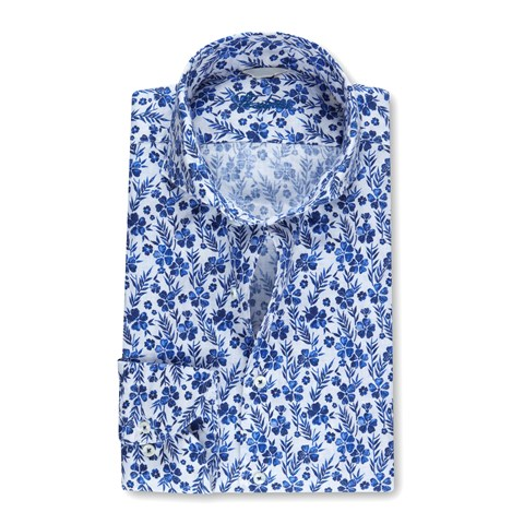 Casual Fitted Body Linen Shirt Floral