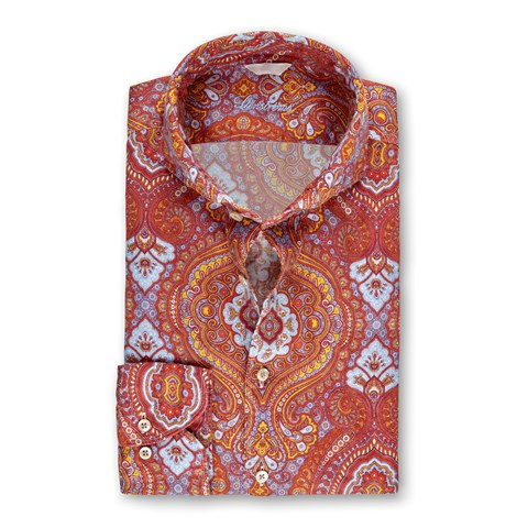 Orange Paisley Linen Fitted Body Shirt