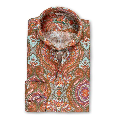 Rust Paisley Linen Fitted Body Shirt