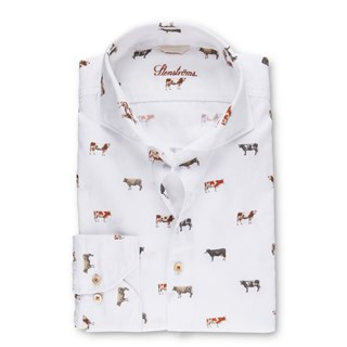 Cow Patterned Fitted Body Shirt