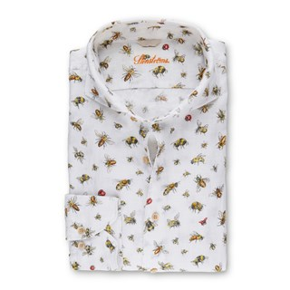 Fitted Body Linen Shirt With Bees