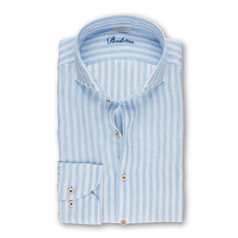 Blue Striped Fitted Body Shirt