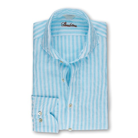 Turquoise Striped Linen Fitted Body Shirt