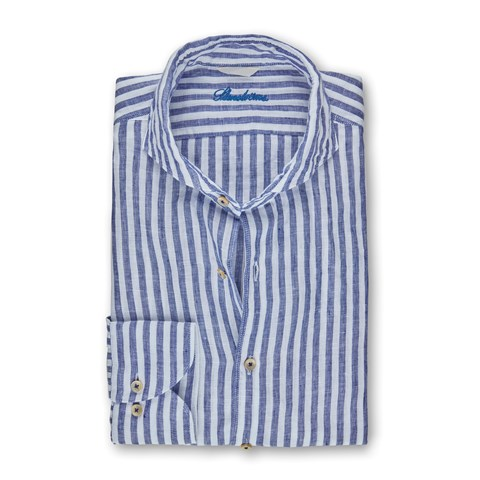 Navy Striped Linen Fitted Body Shirt