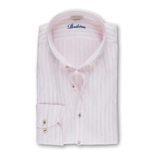 Pink Striped Fitted Body Shirt