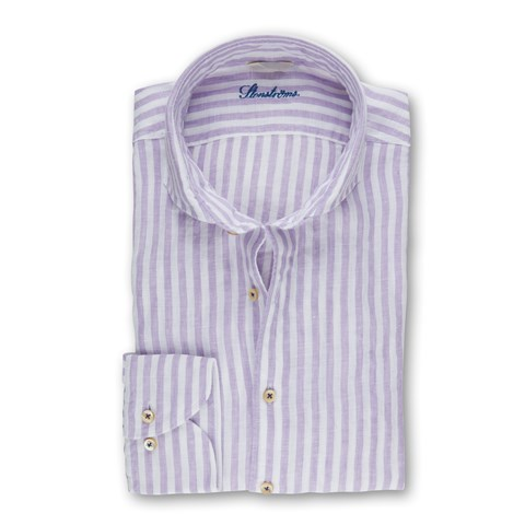 Purple Striped Fitted Body Shirt