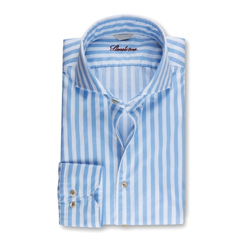 Fitted Body Casual Shirt Striped Blue