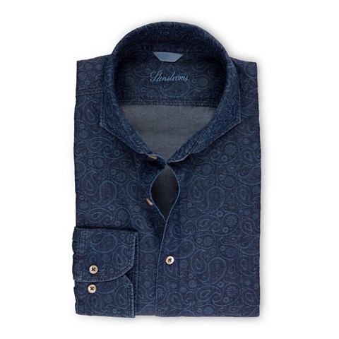 Fitted Body Shirt  In Denim With Paisley Pattern