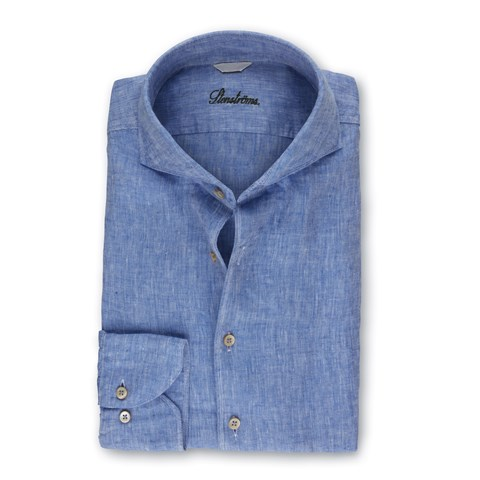 Blue Linen Fitted Body Shirt