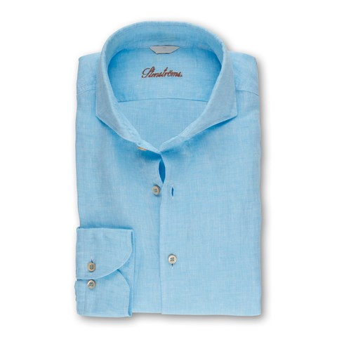 Turquoise Fitted Body Linen Shirt