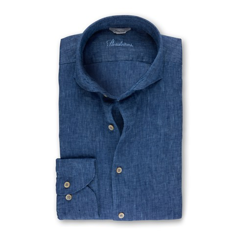 Denim Blue Fitted Body Linen Shirt
