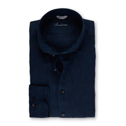Dark Blue Fitted Body Linen Shirt