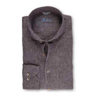 Brown Fitted Body Linen Shirt