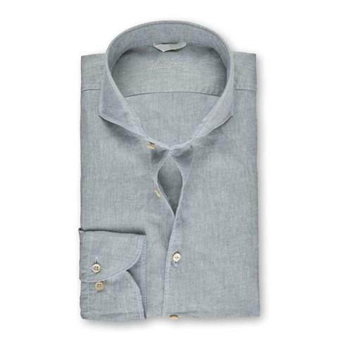 Grey Linen Fitted Body Shirt