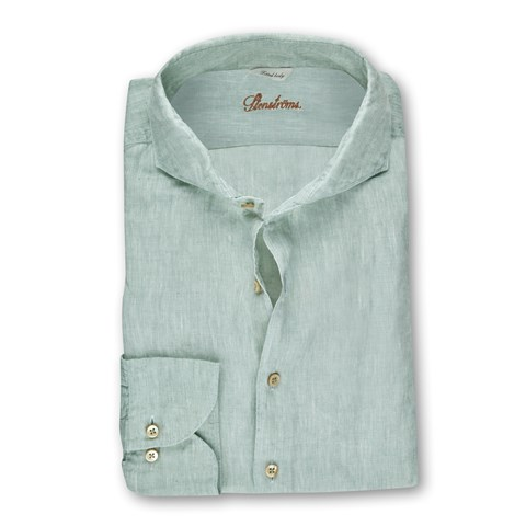 Mint Fitted Body Linen Shirt