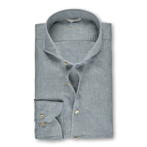 Clay Green Linen Fitted Body Shirt