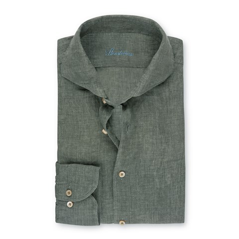 Forest Green Linen Fitted Body Shirt