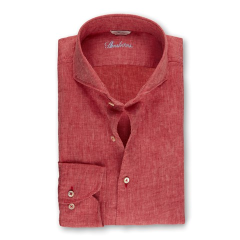 Red Linen Fitted Body Shirt