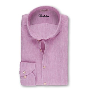 Pink Fitted Body Linen Shirt