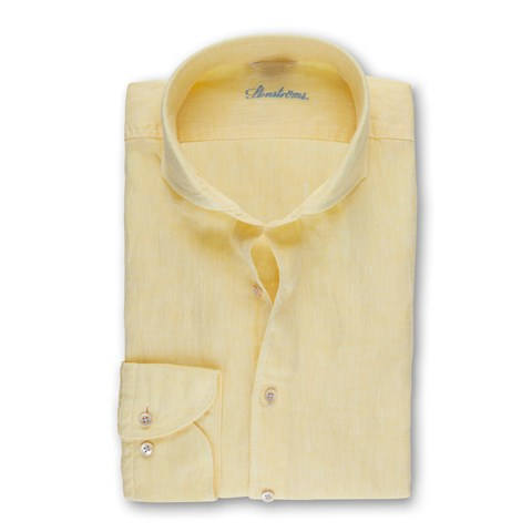 Yellow Fitted Body Linen Shirt