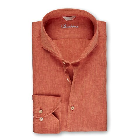 Orange Linen Fitted Body Shirt