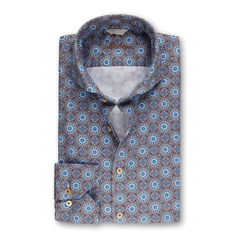 Blue Casual Kaleidoscope Fitted Body Shirt