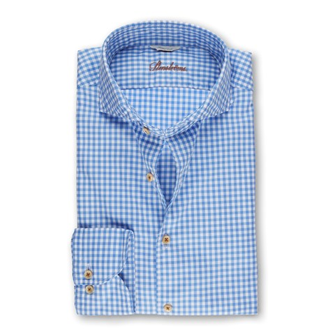 Blue Gingham Casual Fitted Body Shirt