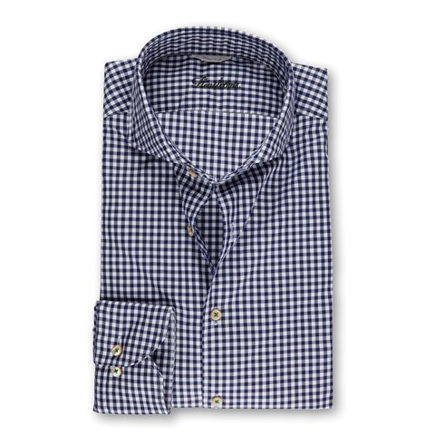 Navy Gingham Casual Fitted Body Shirt