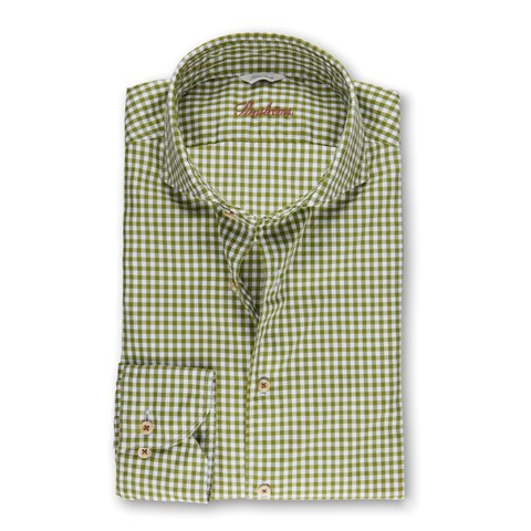 Light Green Gingham Casual Fitted Body Shirt