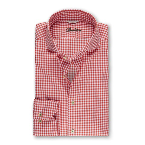 Red Gingham Casual Fitted Body Shirt